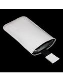 Puha tapintású valódi bőr fehér telefontok kihúzóval - 7x12cm
