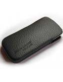Puha tapintású valódi bőr oldalt nyitott fekete telefontok - 7x12cm