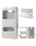 Fehér színű két ablakos tok Sony Xperia E4 telefonhoz