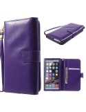 Univerzális lila színű ablakos tárca tok karpánttal 5.5 colos telefonokhoz