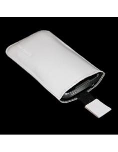 Puha tapintású valódi bőr fehér telefontok kihúzóval - 8x14,5cm