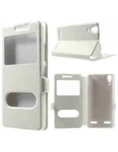 Fehér színű két ablakos tok Lenovo A6000 / Lenovo K3 Music Lemon telefonhoz