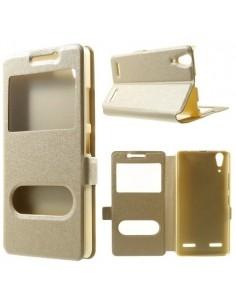 Arany színű két ablakos tok Lenovo A6000 / Lenovo K3 Music Lemon telefonhoz
