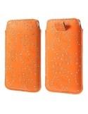 Narancssárga színű csillámos telefontok kihúzóval