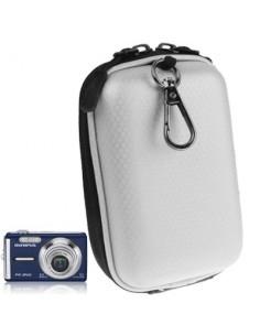 Ezüst színű digitális fényképezőgép tartó műbőrből - 12 x 7 x 4,5 cm (mini)