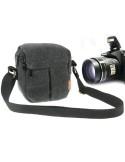 Digitális fényképezőgép táska vászonból - 13,5x14x9cm - FEKETE