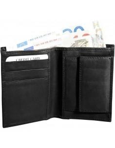 Félbehajtott valódi bőr pénztárca - FEKETE - 495025010110