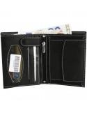 Hárombahajtott valódi bőr pénztárca fehér varrással - FEKETE - 495035010056
