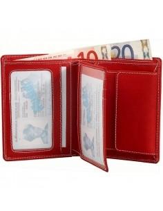 Félbehajtott valódi bőr pénztárca fehér varrással - PIROS - 495035050065