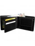 Félbehajtott valódi bőr pénztárca - FEKETE - 495035010066