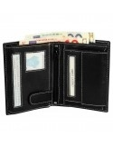 Hárombahajtott valódi bőr pénztárca fehér varrással - P495330011010