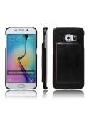 Bőr tapintású fekete háttok Samsung Galaxy S6 Edge készülékhez