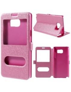 Pink színű két ablakos tok Samsung Galaxy Note 5 telefonhoz