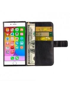 Univerzális fekete színű ablakos tárca tok karpánttal 5 colos telefonokhoz