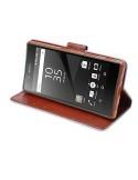 Szövet tapintású notesztok Sony Xperia Z5 / Z5 Dual készülékhez - VILÁGOSKÉK-BARNA