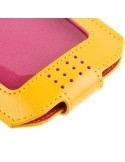 Sárga-pink színű ablakos patentos telefontok 4.7-5.0 colos készülékekhez