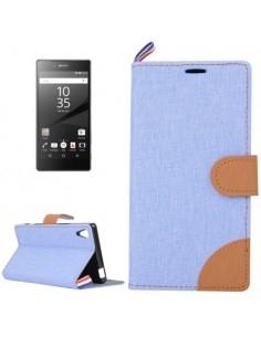 Szövet tapintású notesztok Sony Xperia Z5 / Z5 Dual készülékhez - VILÁGOSKÉK