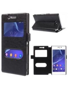 Fekete két ablakos notesz tok Sony Xperia M2 / M2 Dual telefonhoz