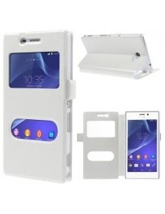 Fehér két ablakos notesz tok Sony Xperia M2 / M2 Dual telefonhoz