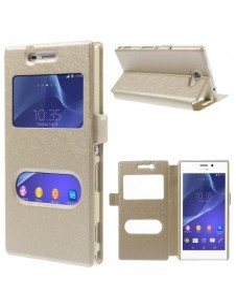 Pezsgő színű két ablakos notesz tok Sony Xperia M2 / M2 Dual telefonhoz