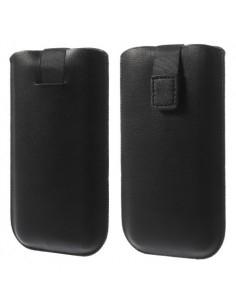 Fekete színű műbőr telefontok - 145 x 78 mm