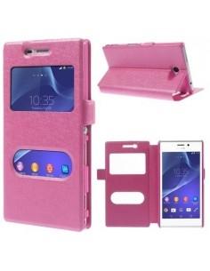 Pink két ablakos notesz tok Sony Xperia M2 / M2 Dual telefonhoz