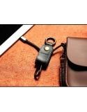 REMAX bőr kulcstartó Micro USB töltő kábel karabinerrel - FEKETE