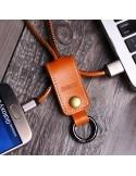 REMAX bőr kulcstartó Micro USB töltő kábel karabinerrel - BARNA