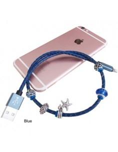 Divatos USB kábel iPhone/iPod/iPad készülékekhez - KÉK