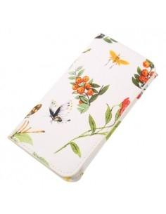 Kártyatartós, virág mintás telefontok - 13.5 x 6.0 - FEHÉR