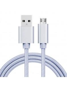 MicroUSB kábel - adatkábel - fonott dizájn - 1m hosszú - EZÜST