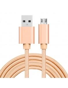 MicroUSB kábel - adatkábel - fonott dizájn - 2m hosszú - ARANY