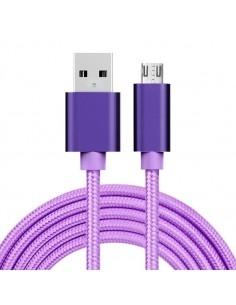 MicroUSB kábel - adatkábel - fonott dizájn - 2m hosszú - LILA