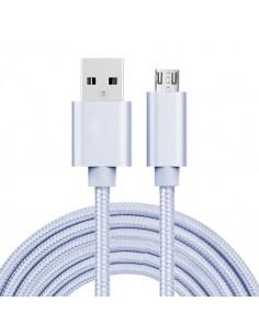 USB kábel - adatkábel - fonott dizájn - 3m hosszú - EZÜST
