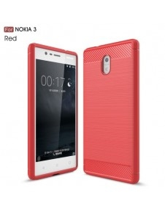 Nokia 3 karbon mintás tok - PIROS