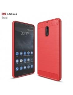 Nokia 6 karbon mintás tok - PIROS