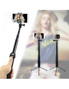 Teleszkópos szelfibot és állvány Bluetooth vezérléssel okostelefonokhoz GoPro kamerához - FEKETE
