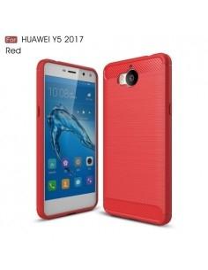 Huawei Y5 (2017) / Y6 (2017) karbon mintás tok - PIROS