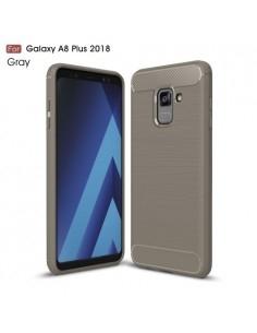 Samsung Galaxy A8 Plus (2018) karbon mintás tok - SZÜRKE