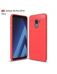 Samsung Galaxy A8 Plus (2018) karbon mintás tok - PIROS