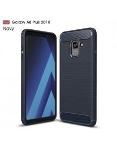 Samsung Galaxy A8 Plus (2018) karbon mintás tok - KÉK