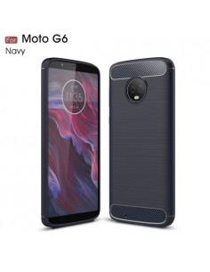 Motorola Moto G6 karbon mintás tok - KÉK