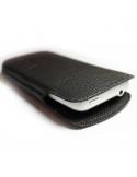 Puha tapintású valódi bőr oldalt nyitott fekete telefontok - 7,5x13cm