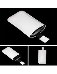 Puha tapintású valódi bőr fehér telefontok kihúzóval - 6x11,5cm