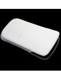 Puha tapintású valódi bőr oldalt nyitott fehér telefontok - 7x12cm