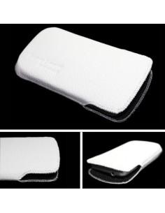 Puha tapintású valódi bőr oldalt nyitott fehér telefontok - 7x13,5cm