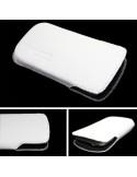 Puha tapintású valódi bőr oldalt nyitott fehér telefontok - 7,5x13cm
