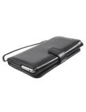 Univerzális fekete színű ablakos tárca tok karpánttal 5.5 colos telefonokhoz