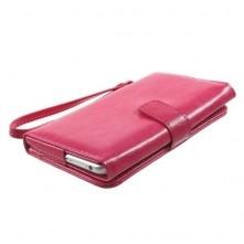 Univerzális pink színű ablakos tárca tok karpánttal 5.5 colos telefonokhoz