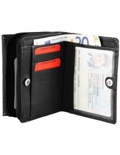 Félbehajtott cipzáros-patentos valódi bőr pénztárca - FEKETE - P495075010011